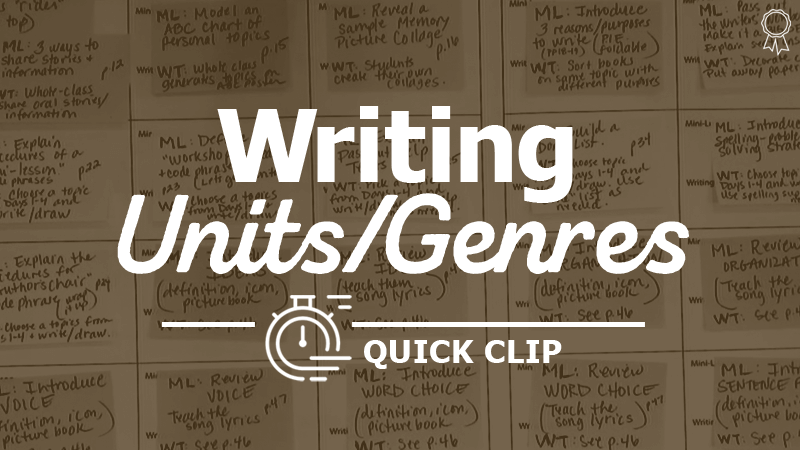 """Break Down Large Units into Small-Dose Writing Experiences"""