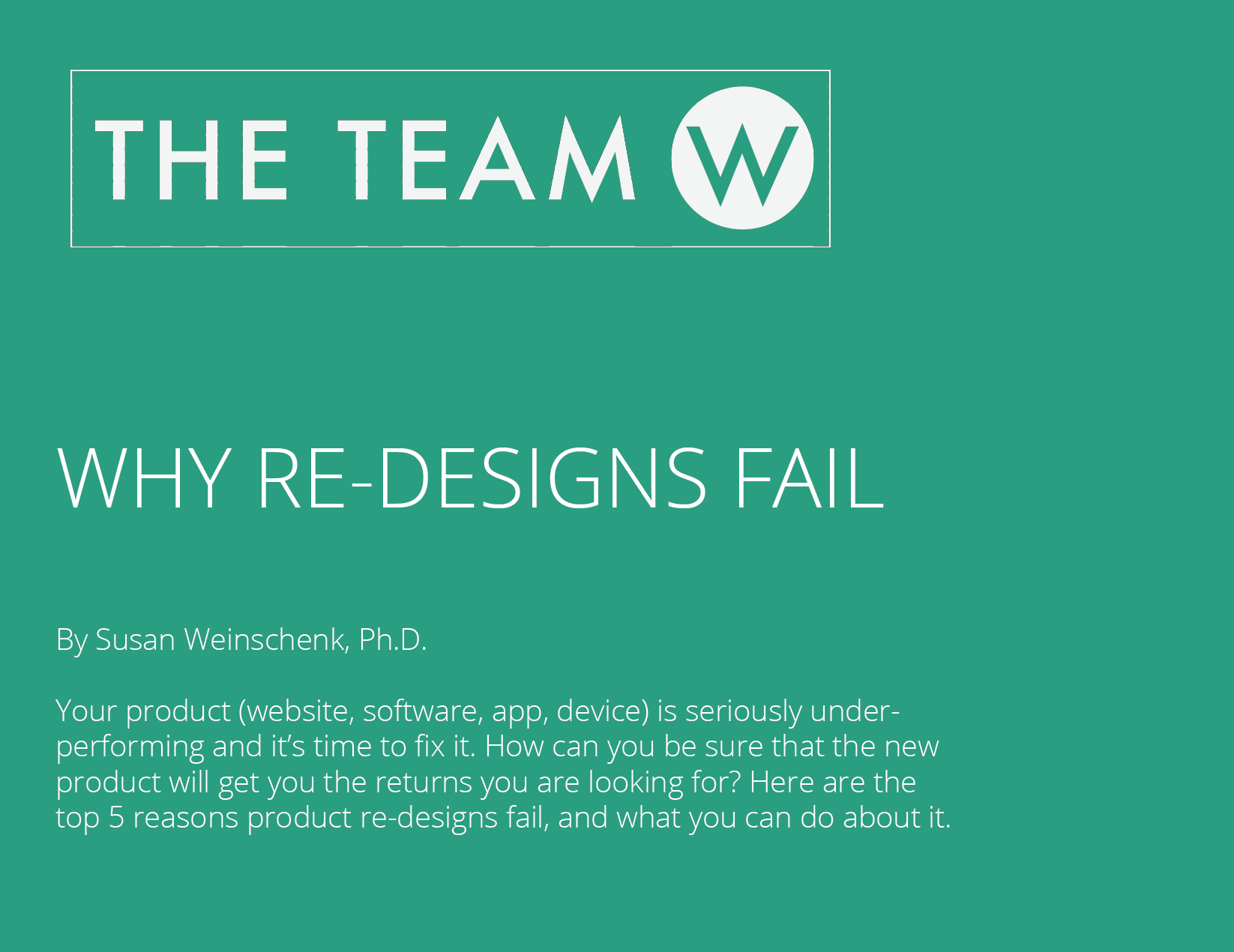 Free Report: Why Re-Designs Fail