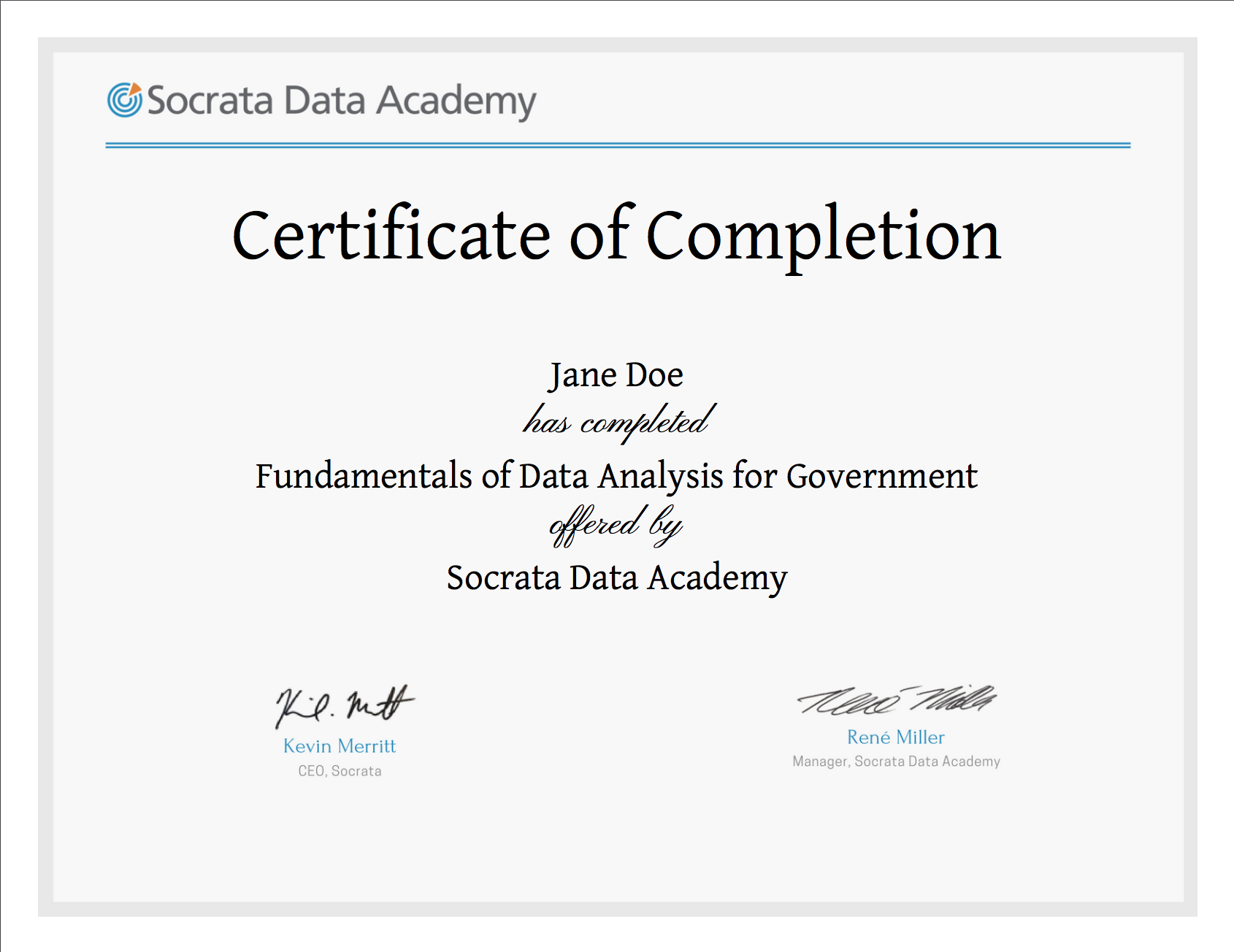 Certification Test for Fundamentals of Data Analysis for Government