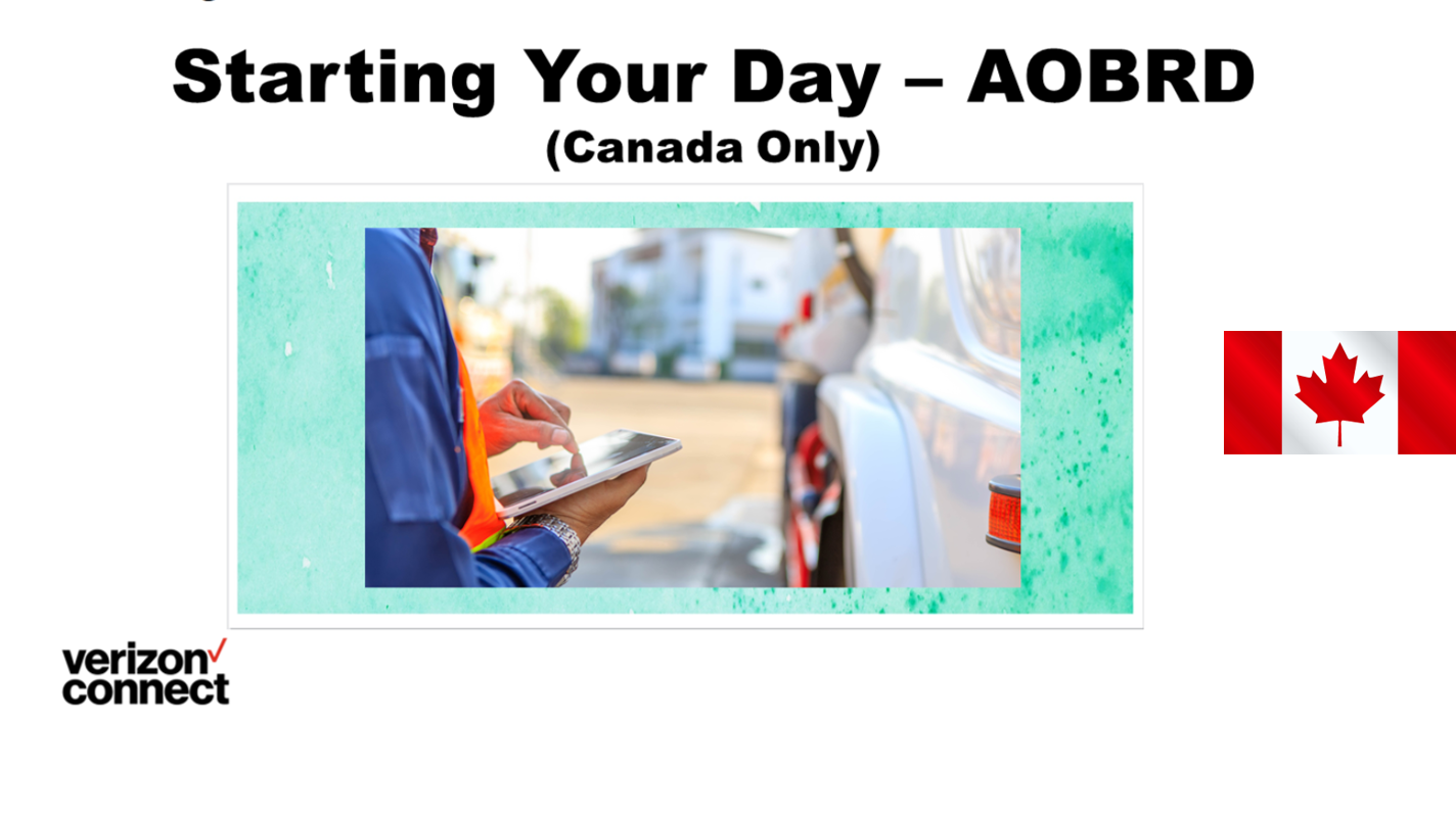 WorkPlan Driver Training - Starting Your Day - Logging In - AOBRD (Canada Only)