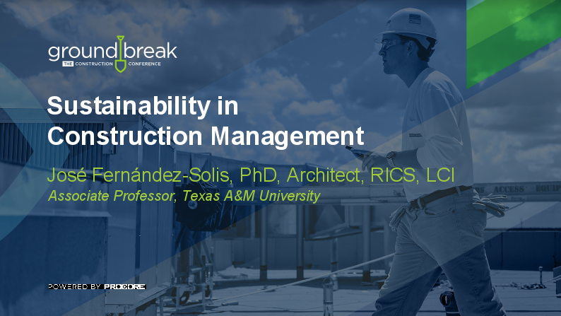 On-Demand GB2017: Sustainability in Construction Management