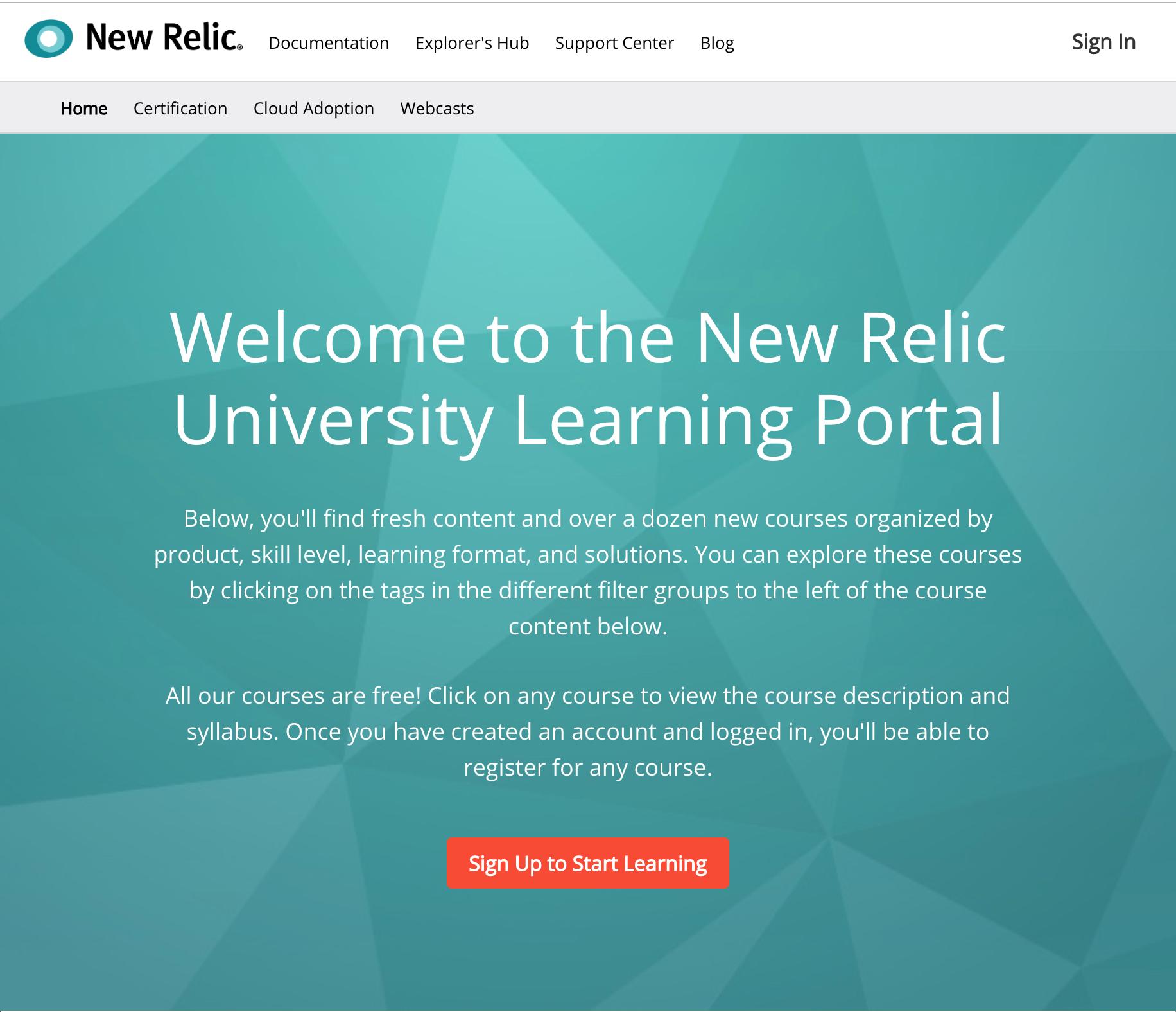 New Relic University LMS Training