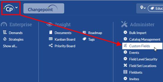 Changepoint SPM:  Configure Custom Fields and Fieldsets
