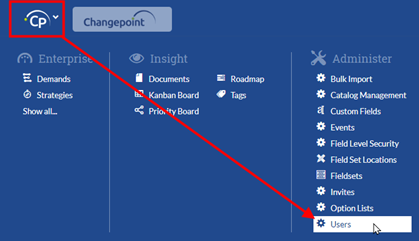 Changepoint SPM:  Invite New Users