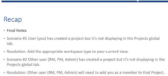 Changepoint PPM (Daptiv):  Why can't I see my Project?
