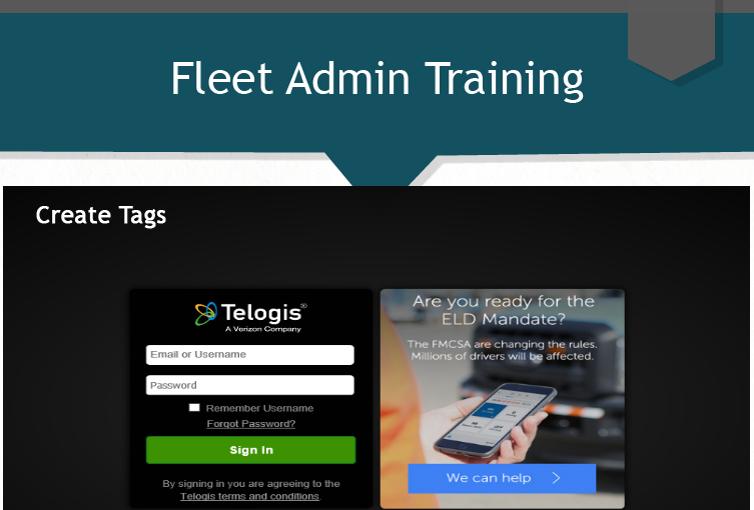 Fleet Admin - Create Tags