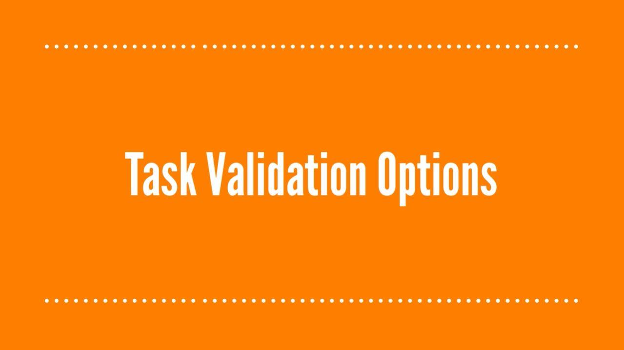 Task Validation Options
