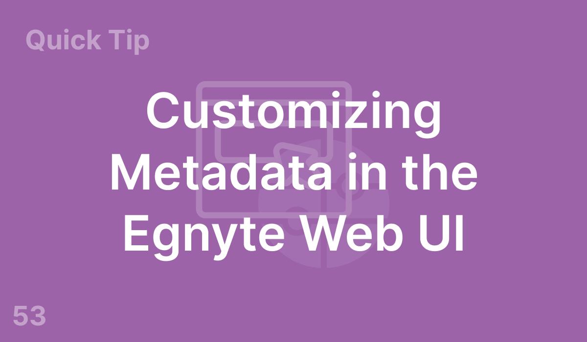 Customizing Metadata in the Egnyte Web UI (#53)