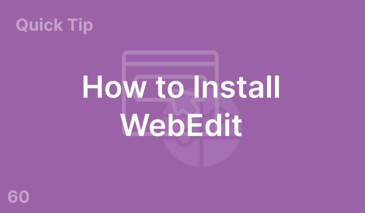 How to Install WebEdit (#60)