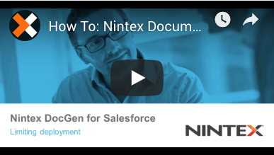 How to: Limiting Deployment in Nintex Document Generation for Salesforce