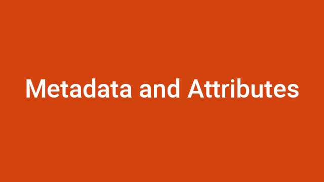 Metadata and Attributes