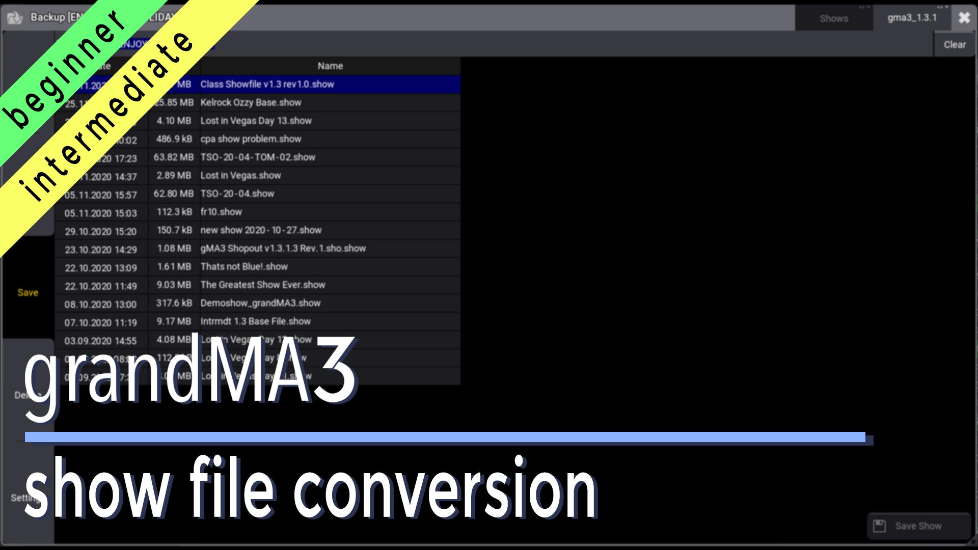 grandMA3 Show File Conversion