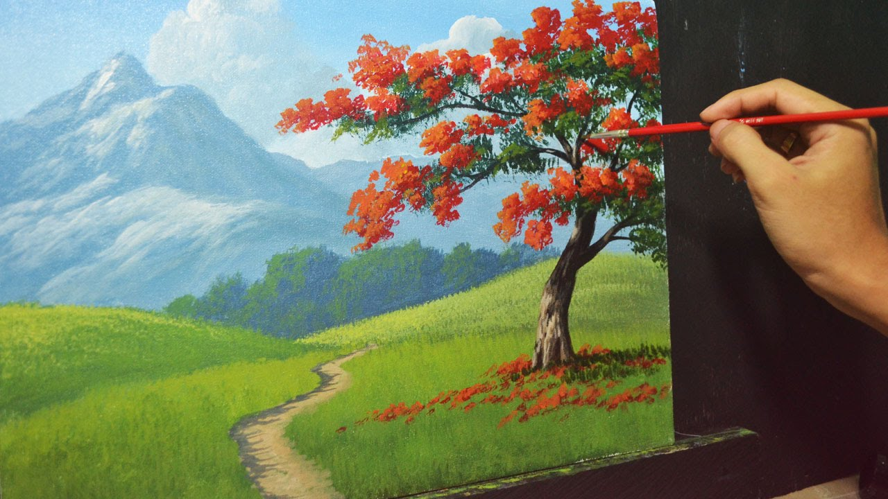 painting trees with a fan brush step by step acrylic - 1280×720