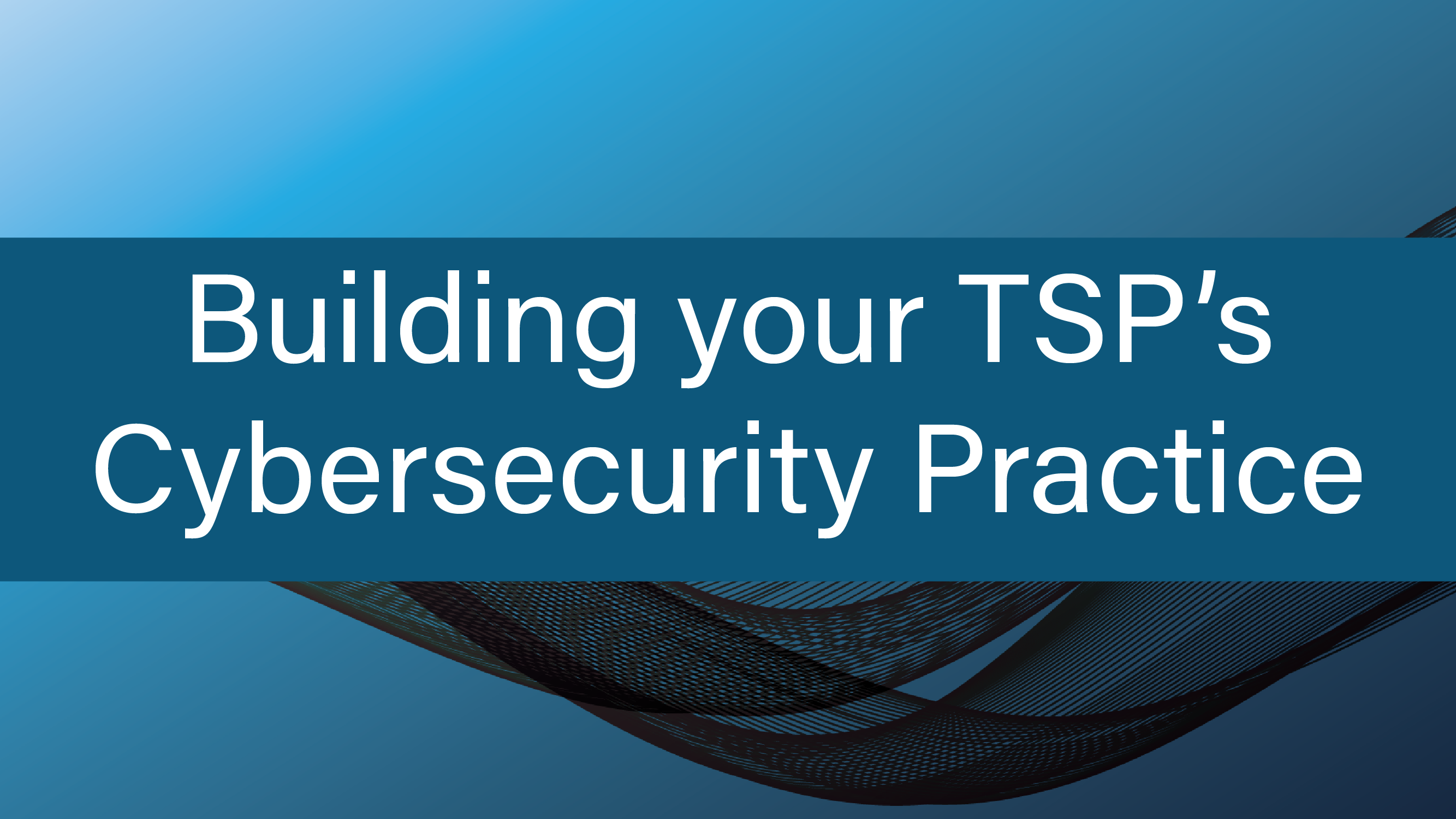 Building your TSP's Cybersecurity Practice