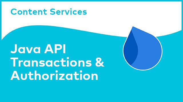 Content Services: Java API - Transactions & Authorization