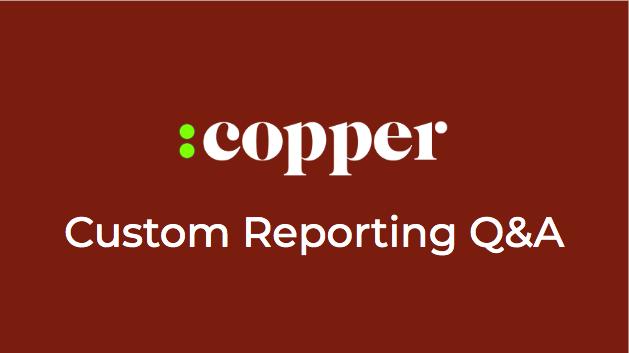 LIVE: Copper Reporting Q&A - Wednesdays