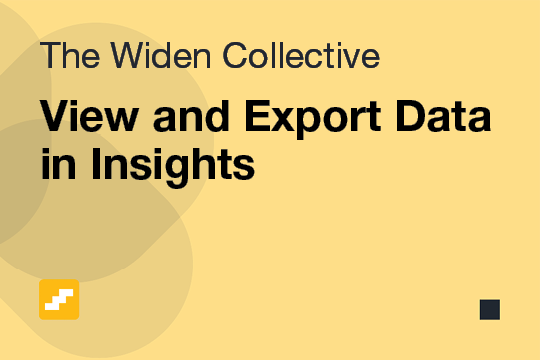 View and Export Data in Insights