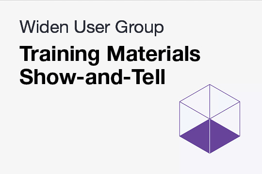 WUG: Training Materials Show-and-Tell