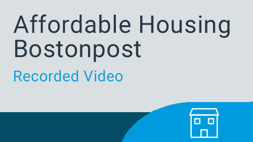 Affordable Housing Bostonpost - Maintenance Webinar Recording