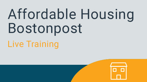 Affordable Housing Bostonpost - Documents & Reports Live Training