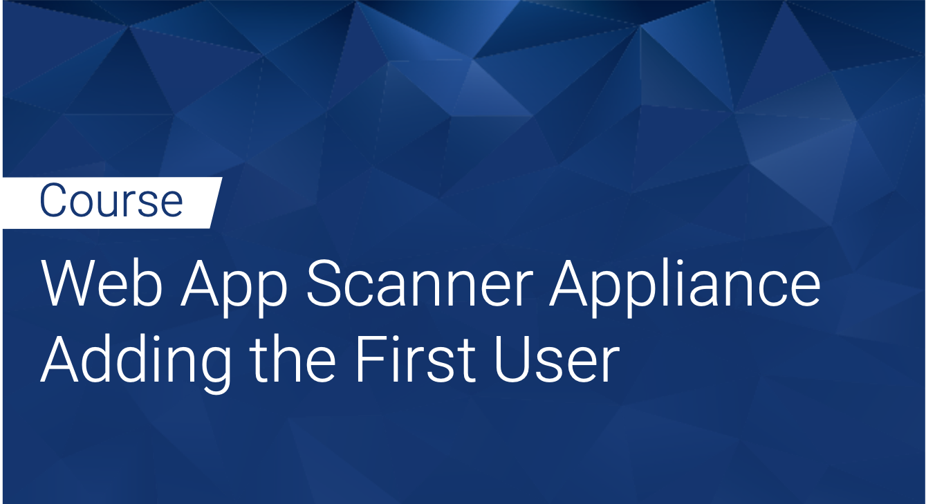 Tinfoil Web App Scanner Appliance: Adding the First User