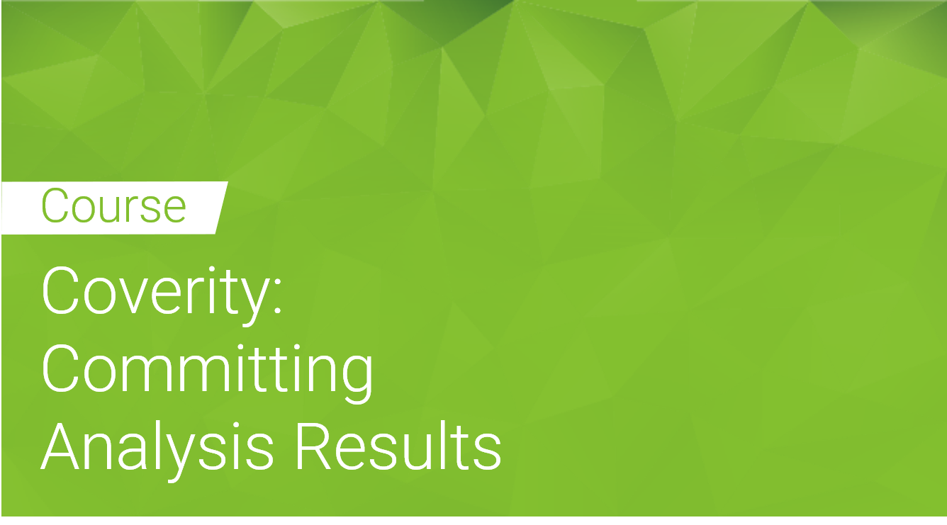 Coverity: Committing Analysis Results