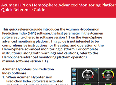 Acumen HPI Quick Reference Guide