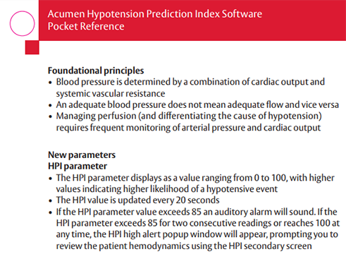 Acumen™ Hypotension Prediction Index Software Reference Card